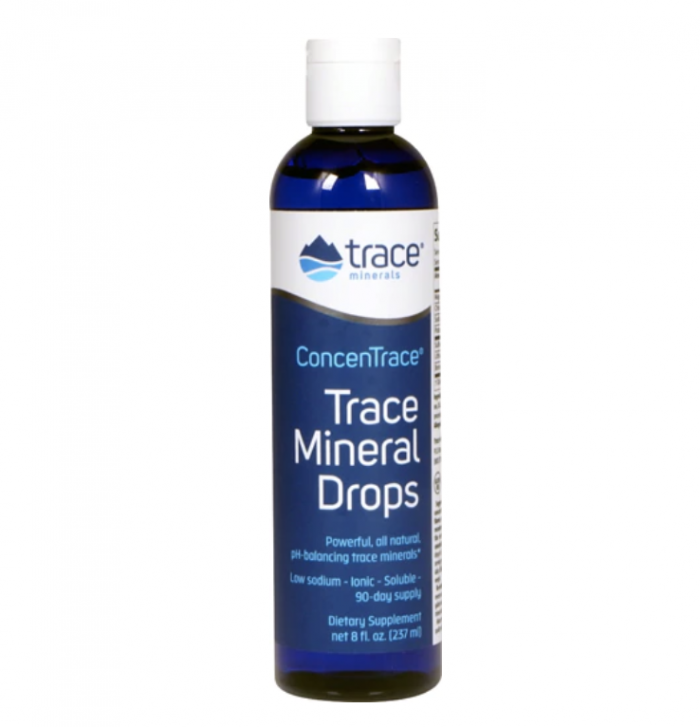 Trace Mineral Drops with white backdrop
